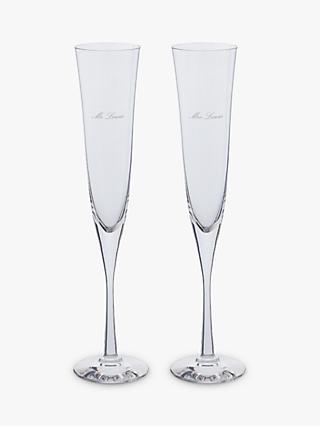 Dartington Crystal Personalised Celebration Flutes, 150ml, Set of 2, Palace Script Font