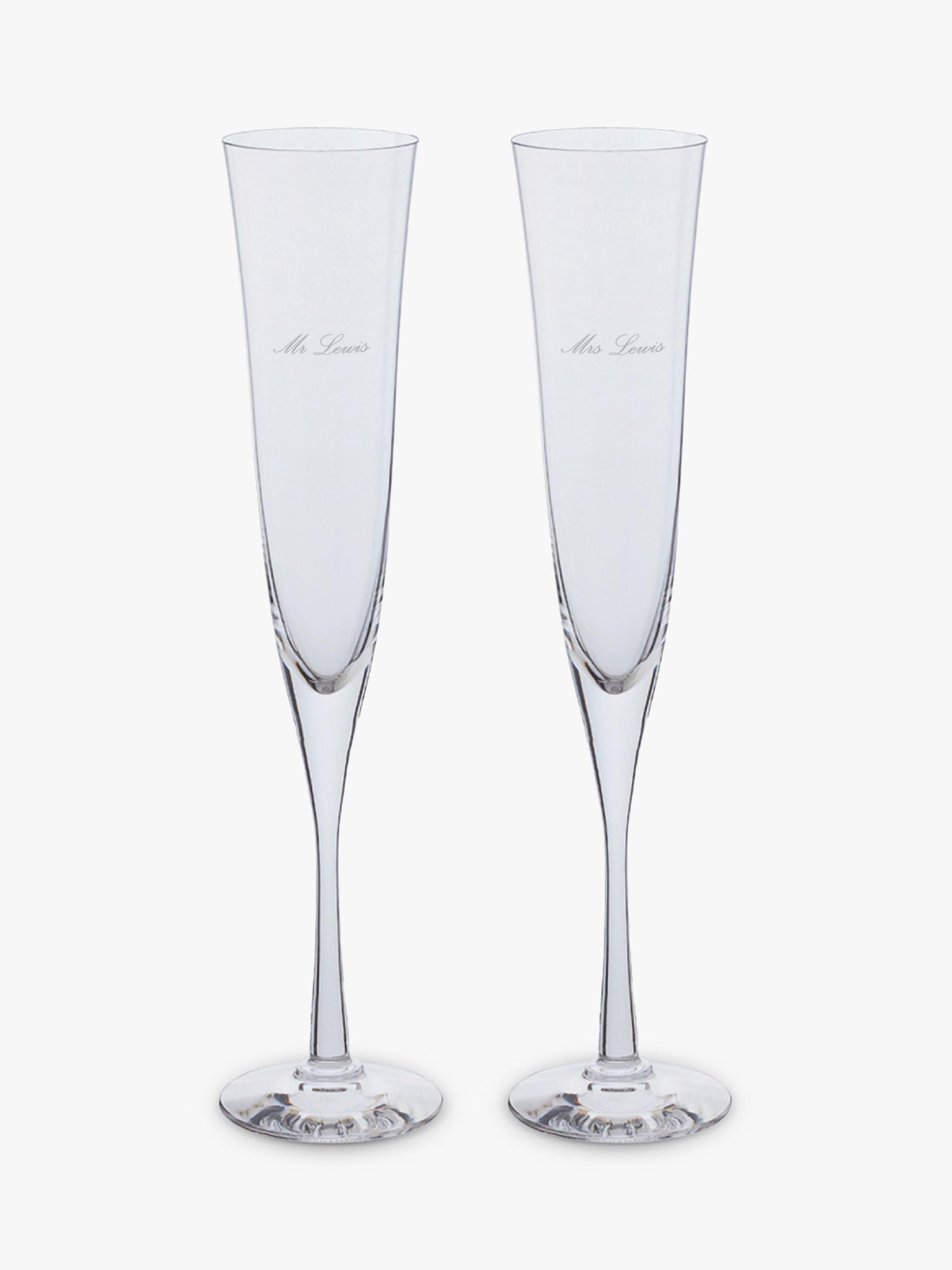 Dartington Crystal Dartington Crystal Personalised Celebration Flutes, 150ml, Set of 2, Palace Script Font