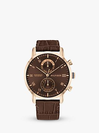 Tommy Hilfiger 1710400 Men's Kane Chronograph Leather Strap Watch, Brown