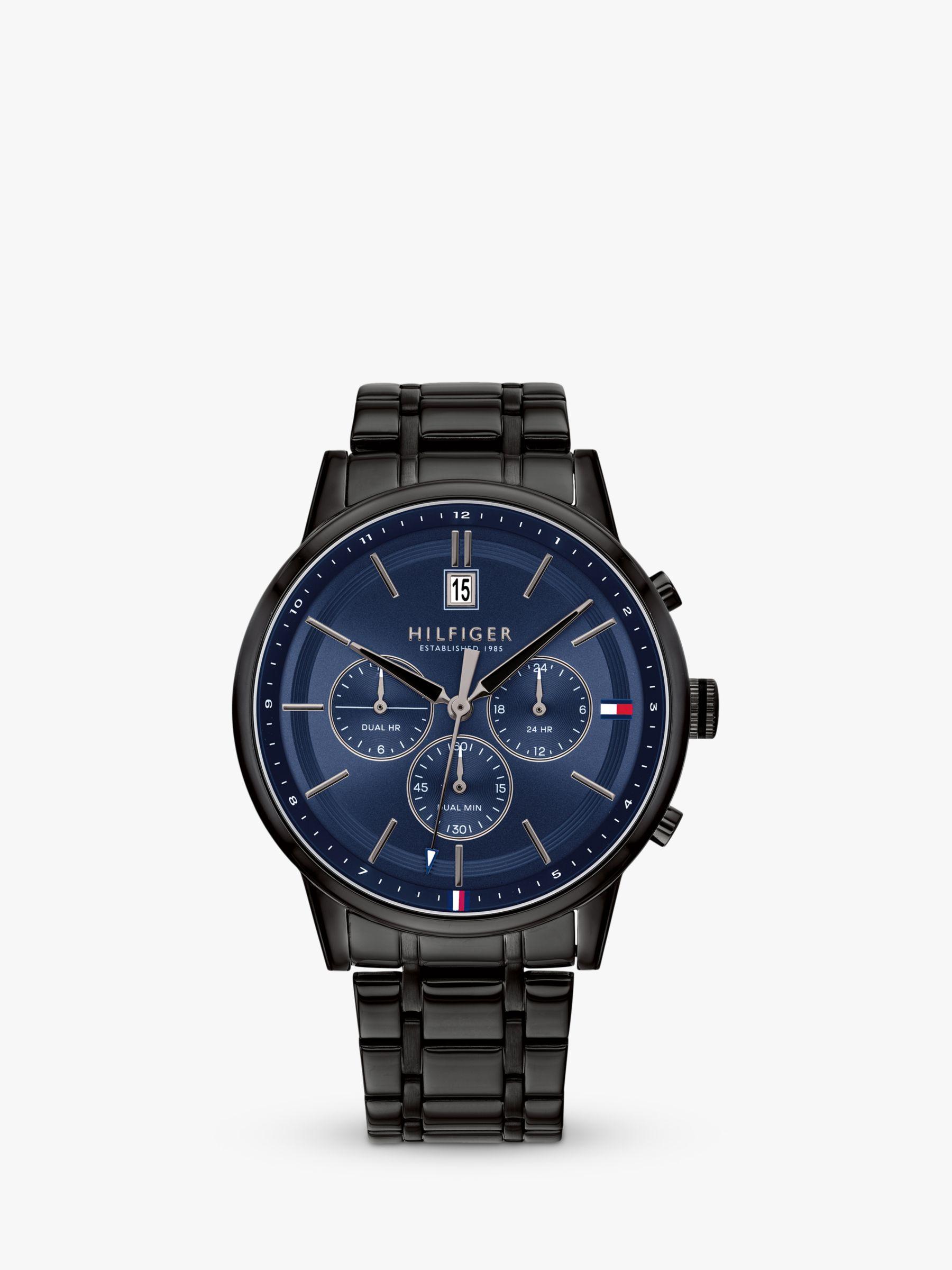 a4b64dacf3407 Tommy Hilfiger Men's Kyle Date Chronograph Bracelet Strap Watch, Black/Blue  1791633