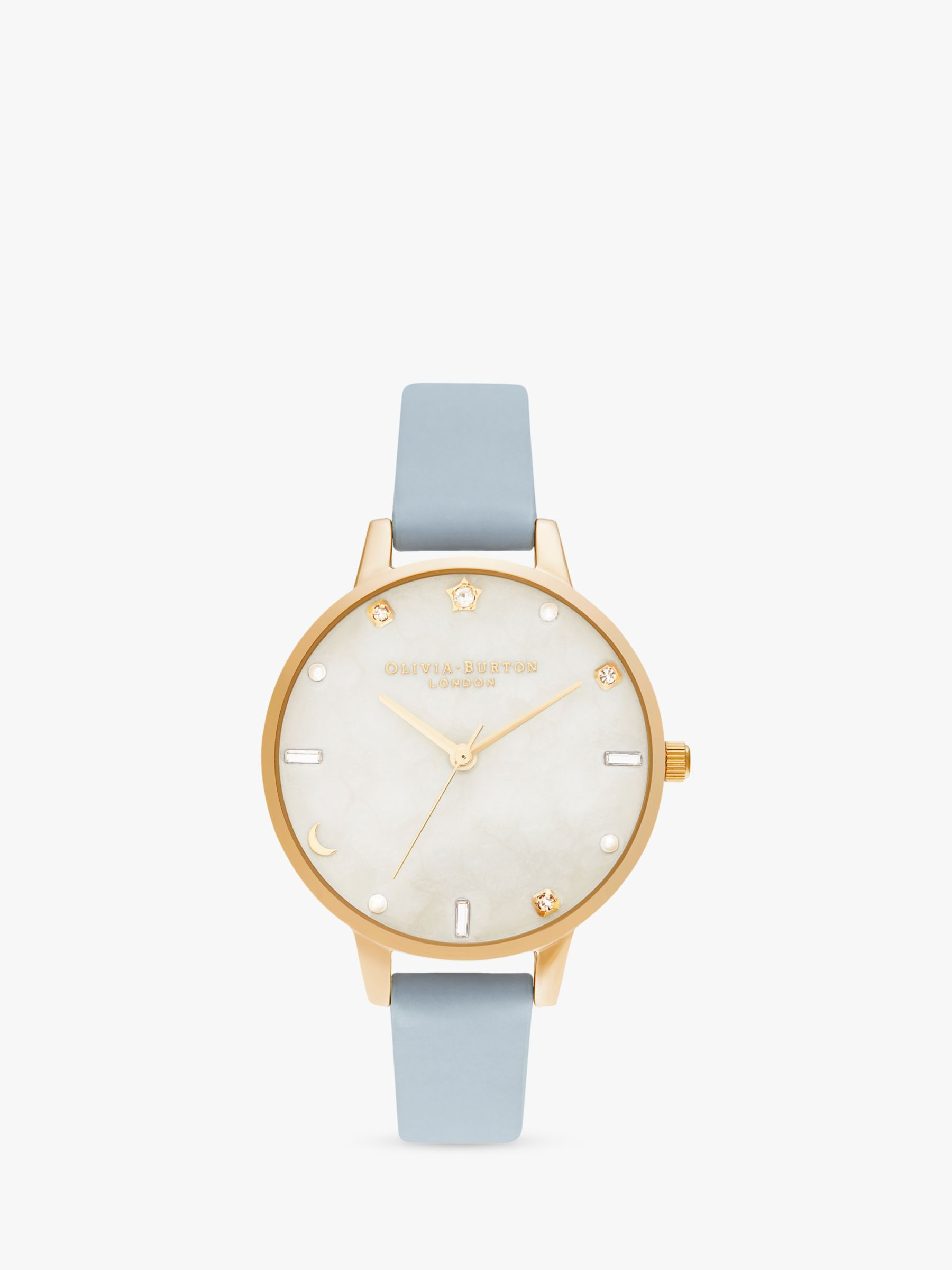 Olivia Burton Olivia Burton OB16GD31 Women's Celestial Faux Leather Strap Watch, Blue/White