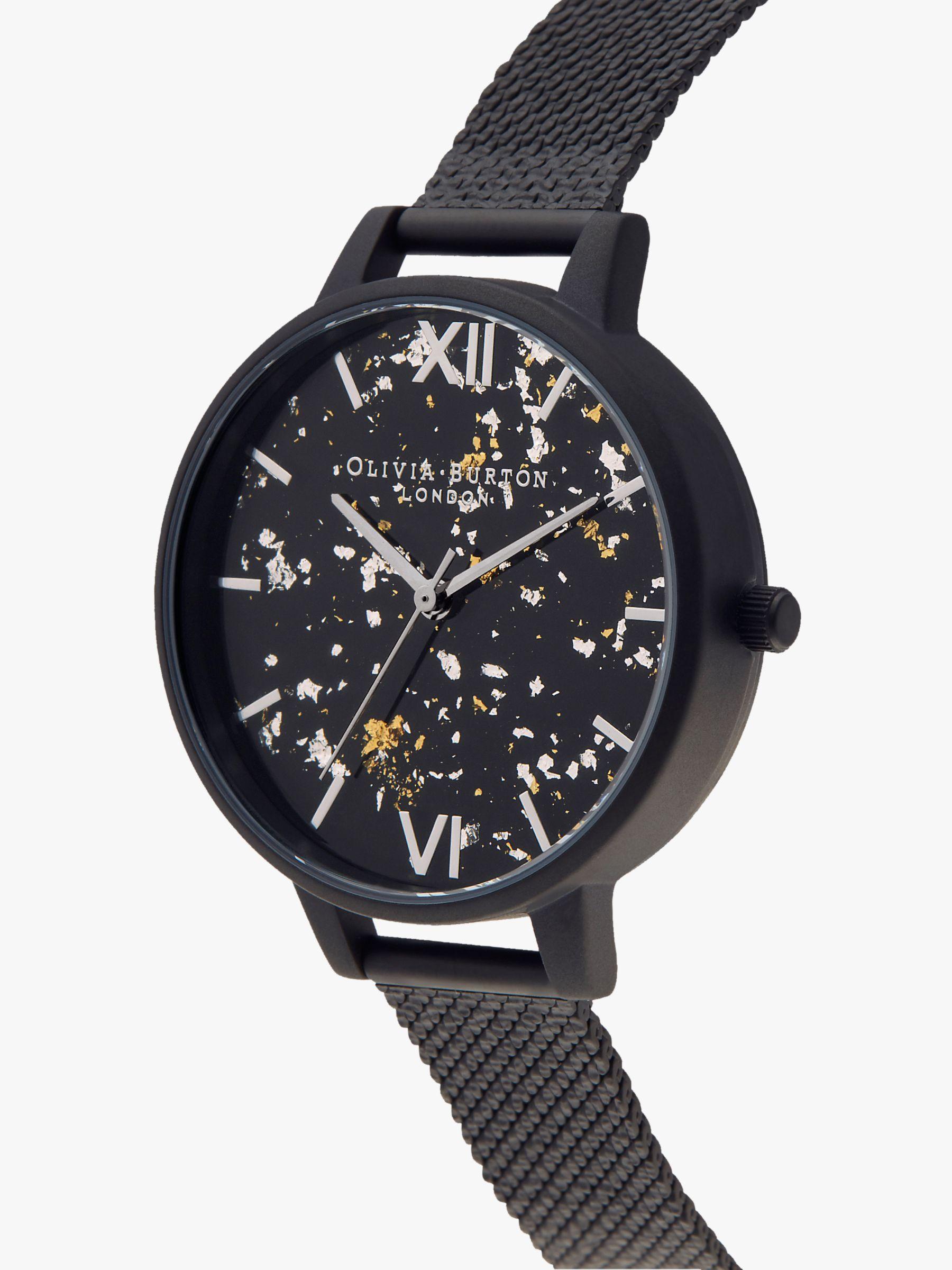 Olivia Burton Olivia Burton Women's Celestial Mesh Bracelet Strap Watch, Black