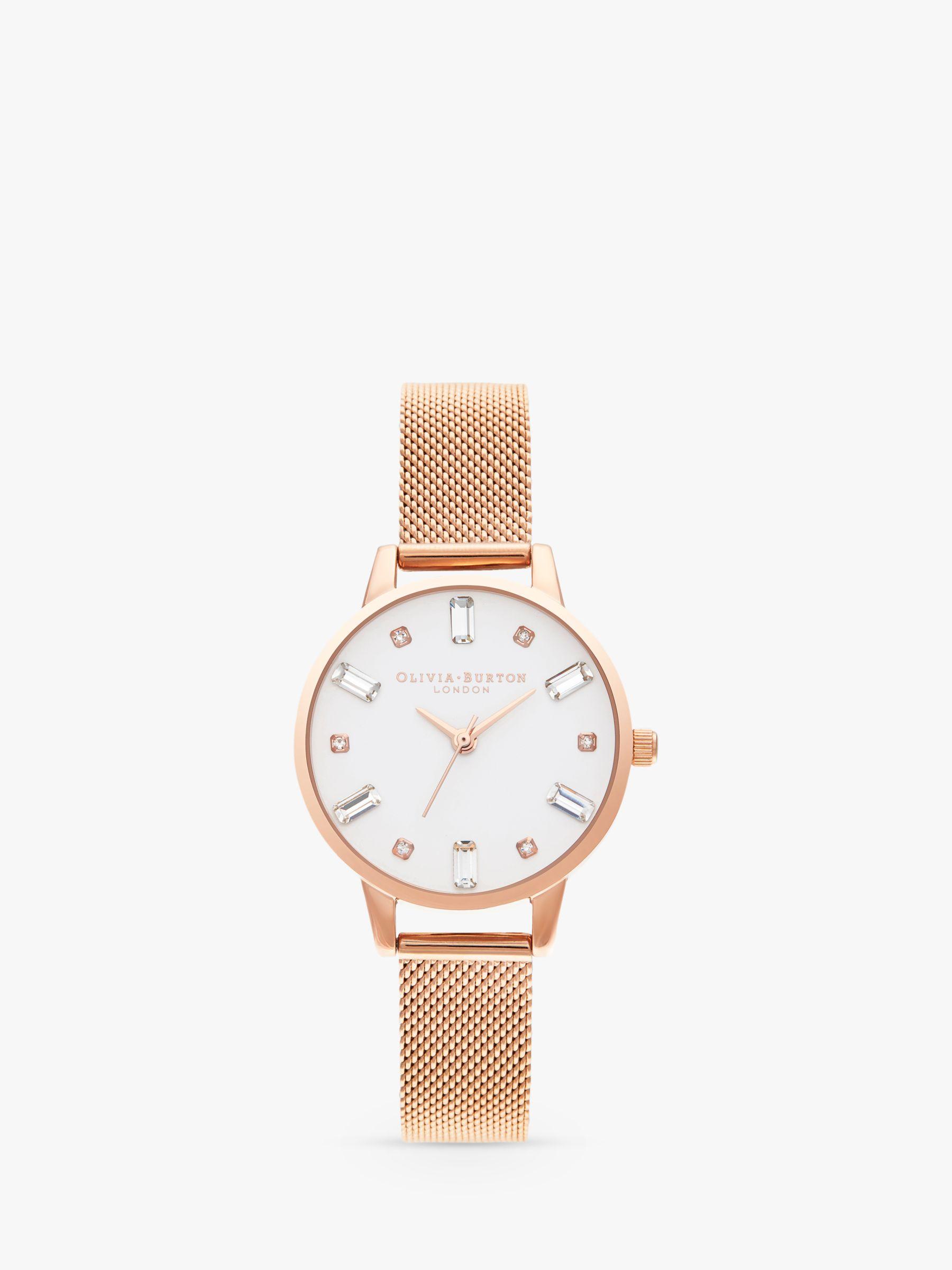 Olivia Burton Olivia Burton OB16BJ02 Women's Bejewelled Mesh Bracelet Strap Watch, Rose Gold/White