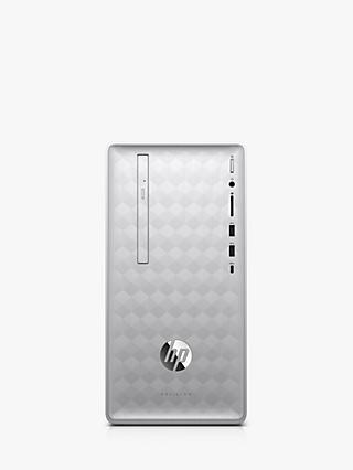 HP Pavilion 590-p0070na Desktop PC, AMD Ryzen 7 Processor, 8GB RAM, 2TB HDD, Silver