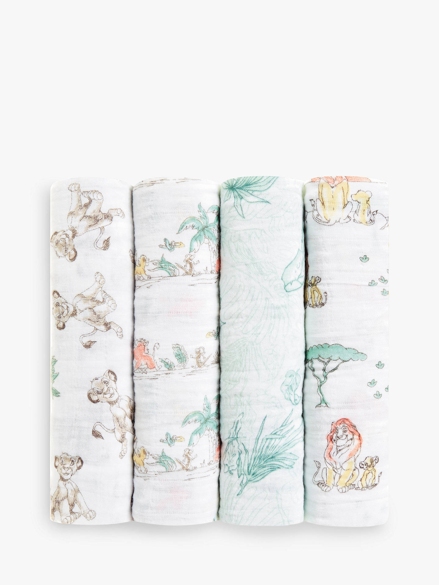 Aden Anais Disney The Lion King Baby Swaddle Blanket Pack Of 4 At John Lewis Amp Partners