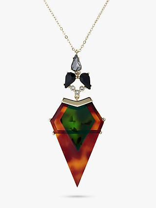 Ted Baker Myahla Arrow Drop Pendant Necklace, Brown/Multi