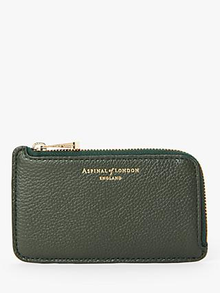 Aspinal of London Leather Zipped Coin Purse, Evergreen