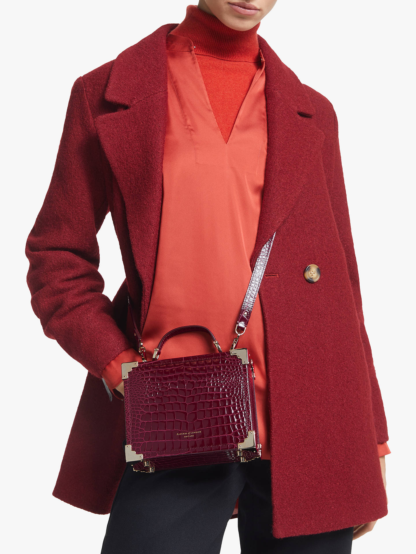 Aspinal of London Leather Trunk Clutch Grab Bag at John Lewis ...