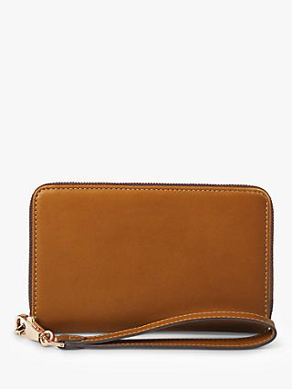 Aspinal of London Leather Midi Continental Wristlet Purse, Tan