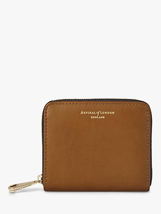 Aspinal of London Shield Leather Continental Mini Purse, Tan Smooth