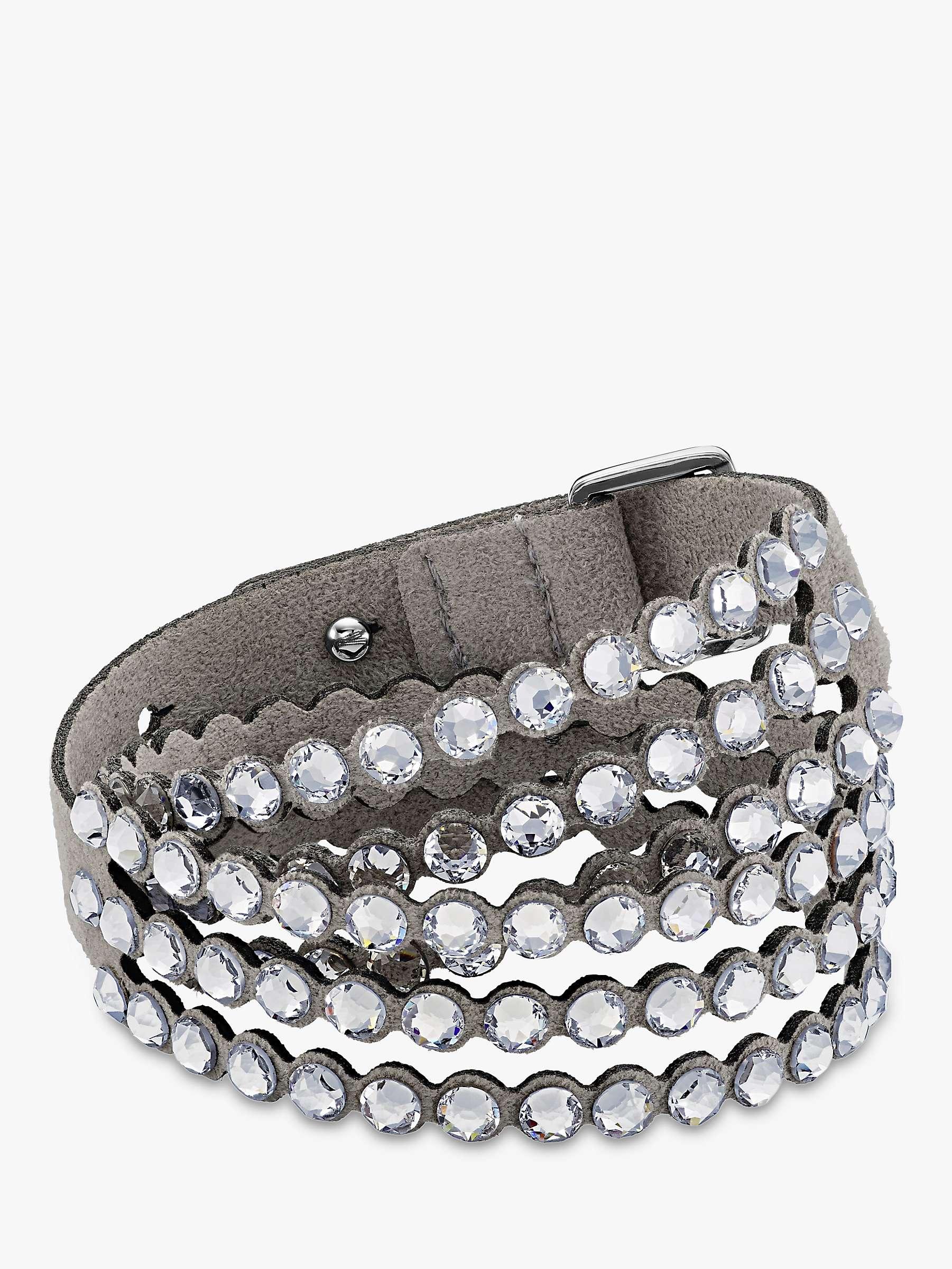 Swarovski Crystal Leather Wrap Bracelet Grey At John Lewis