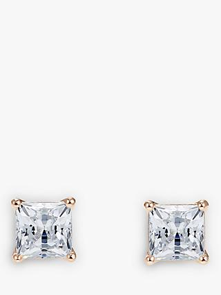 Swarovski Princess Cut Crystal Square Stud Earrings, Rose Gold