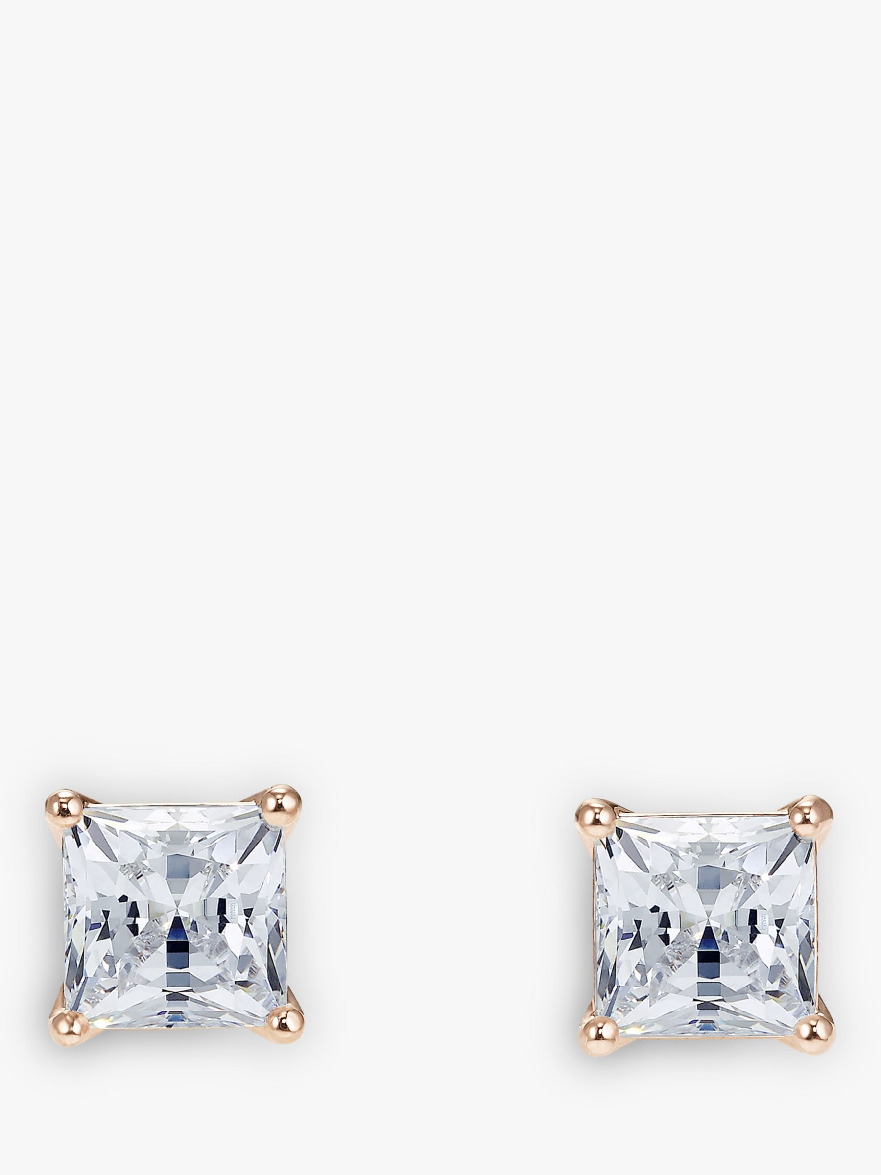 Swarovski Swarovski Princess Cut Crystal Square Stud Earrings, Rose Gold