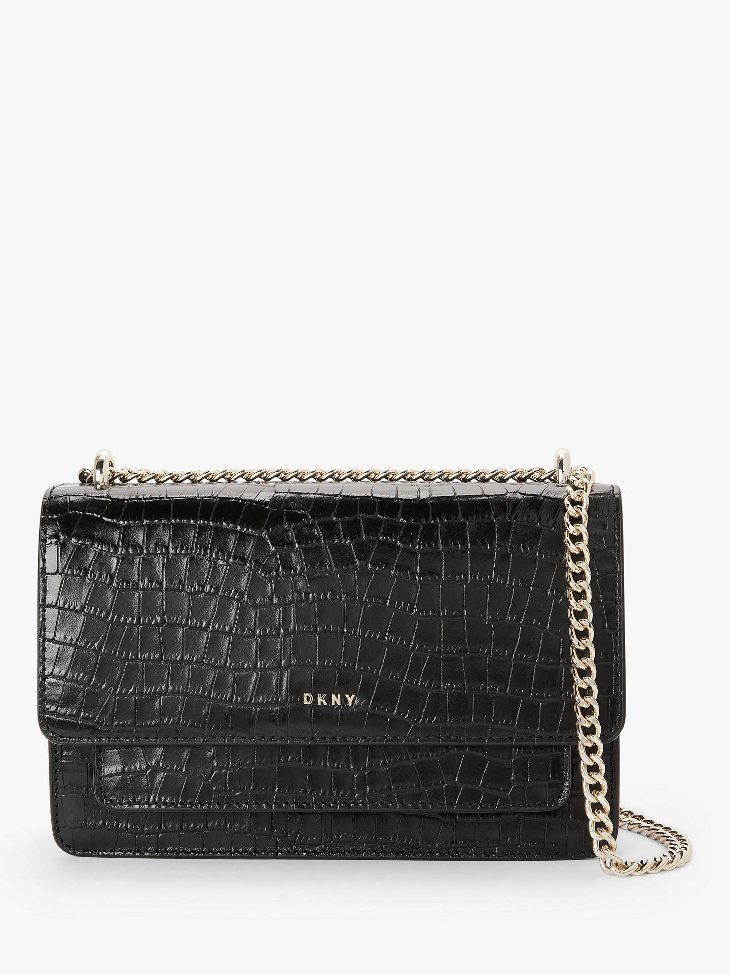 Dkny Bryant Croc Embossed Leather Small Chain Shoulder Bag, Black/Gold by Dkny