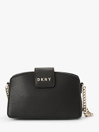 DKNY Clara Leather Chain Cross Body Bag, Black/Gold