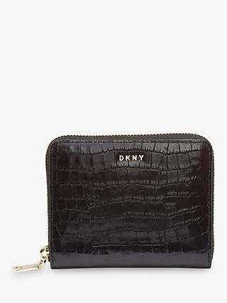 DKNY Bryant Croc Embossed Leather Zip Around Purse