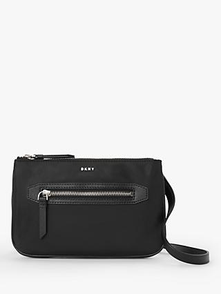 DKNY Casey Double Zip Top Cross Body Bag, Black/Silver