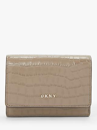 DKNY Bryant Croc Embossed Leather Flapover Card Purse, Dune