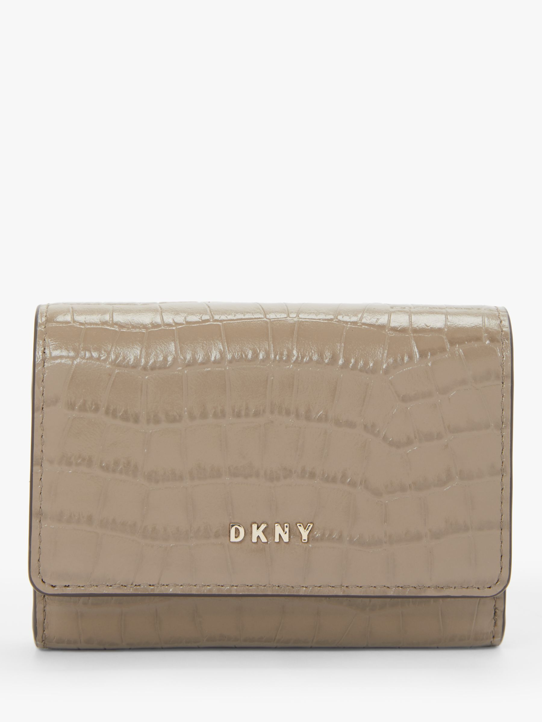 DKNY DKNY Bryant Croc Embossed Leather Flapover Card Purse, Dune