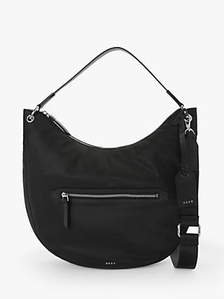 DKNY Casey Zip Top Hobo Bag, Black/Silver