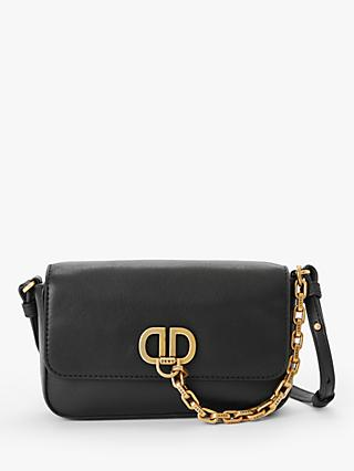DKNY Linton Demi Leather Cross Body Bag, Black/Gold