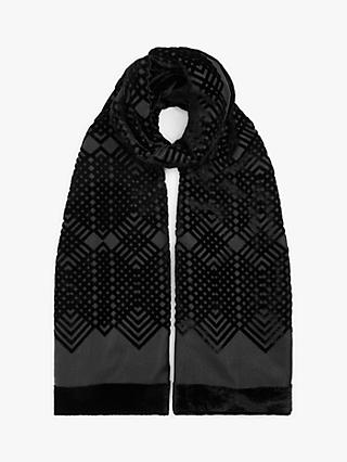 Modern Rarity Velvet Burnout Scarf, Black