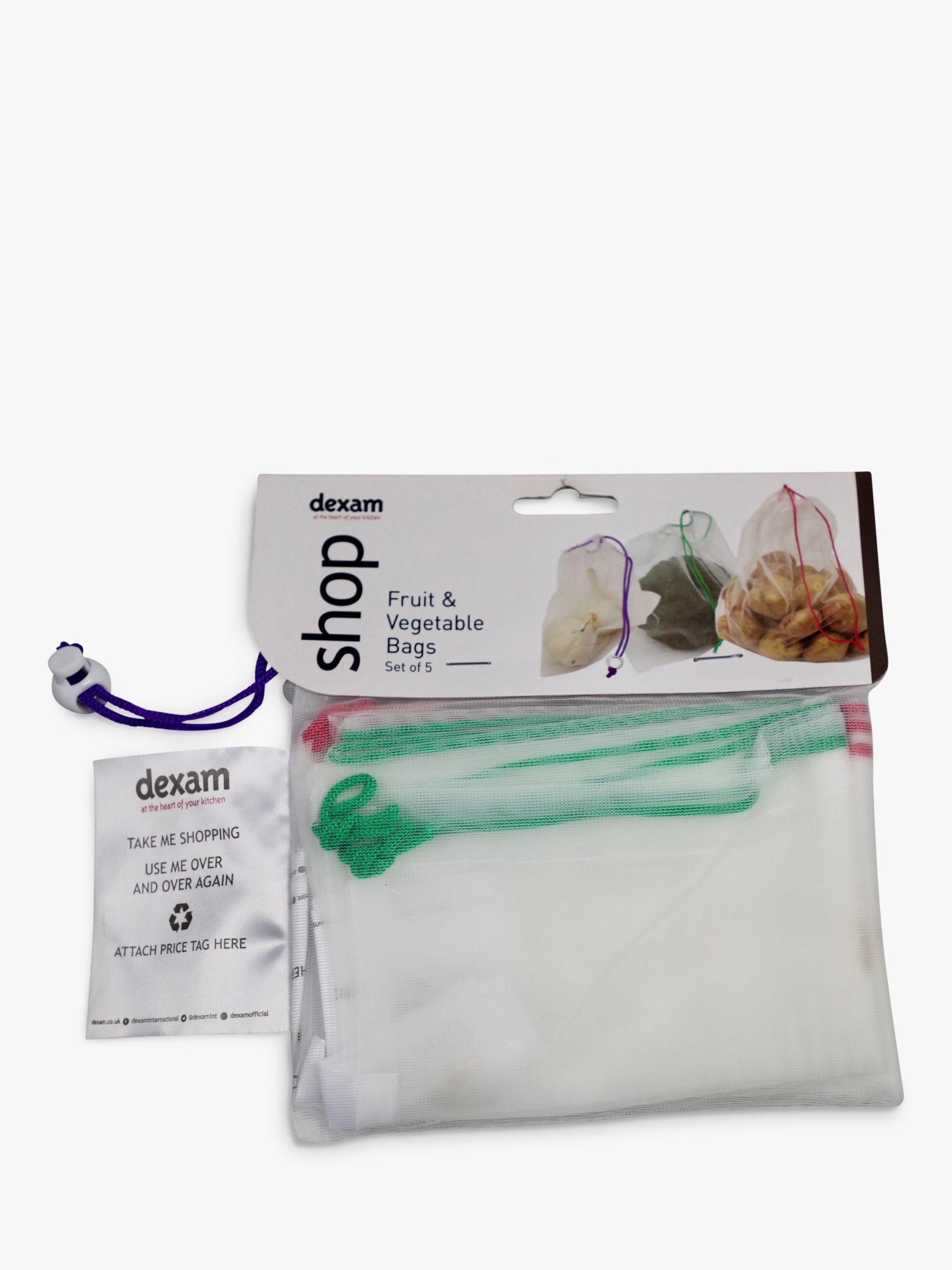 Dexam Dexam Reusable/Washable Drawstring Mesh Fruit & Vegetable Bags, Pack of 5