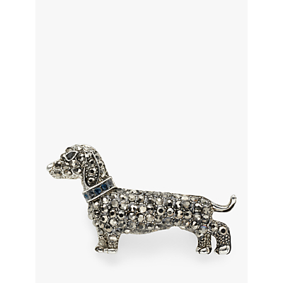 One Button Crystal Dachshund Dog Brooch, Grey