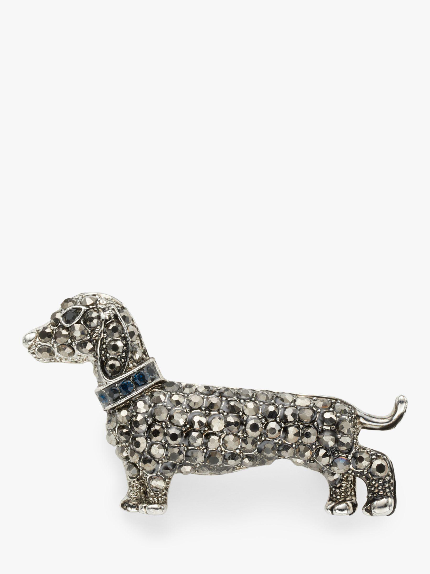 One Button One Button Crystal Dachshund Dog Brooch, Grey