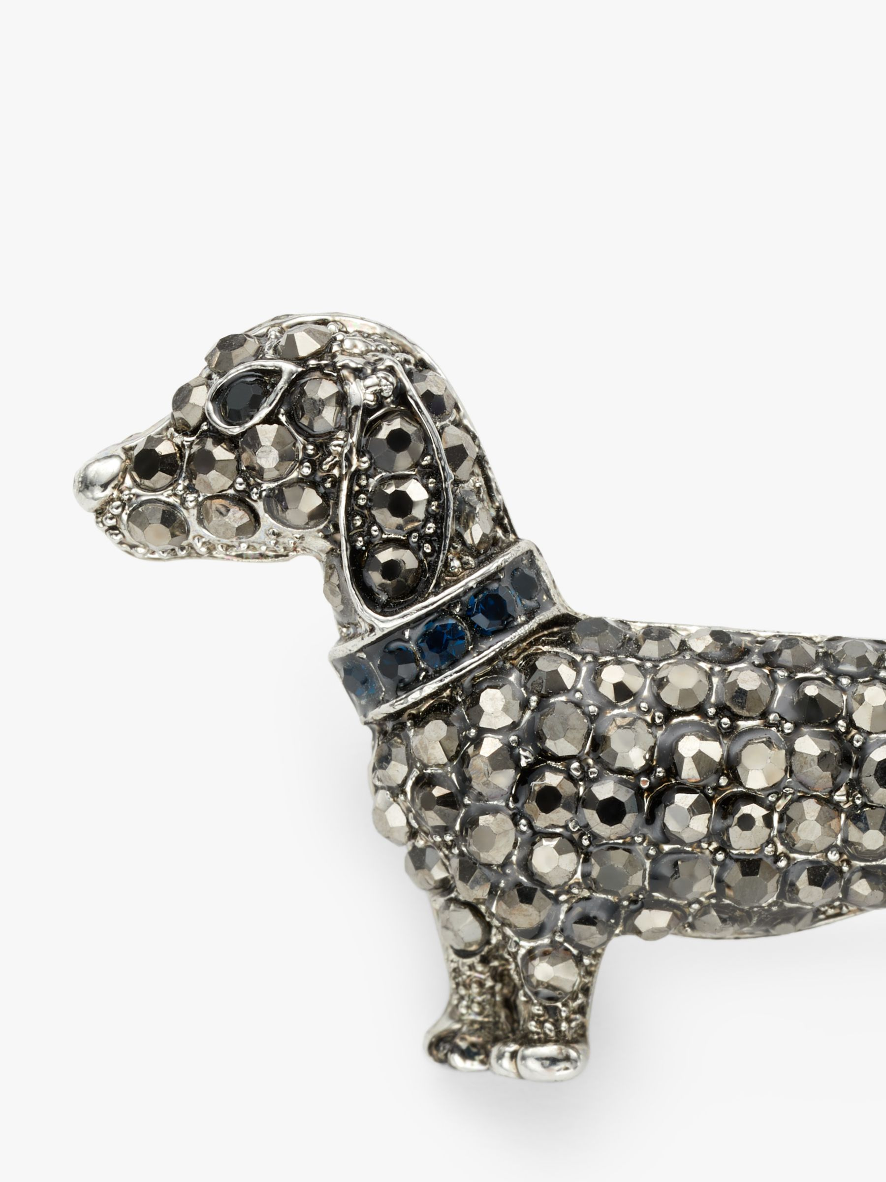 One Button Crystal Dachshund Dog Brooch Grey At John Lewis Partners