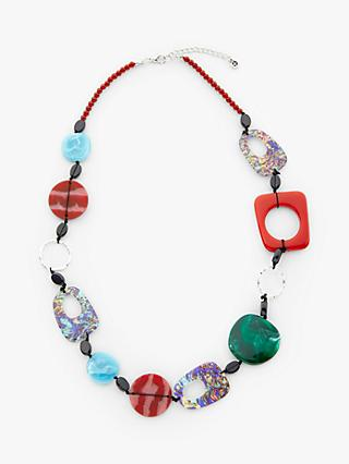 One Button Abstract Beaded Necklace, Wine/Green