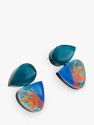 One Button Irregular Cut Drop Earrings, Turquoise/Multi