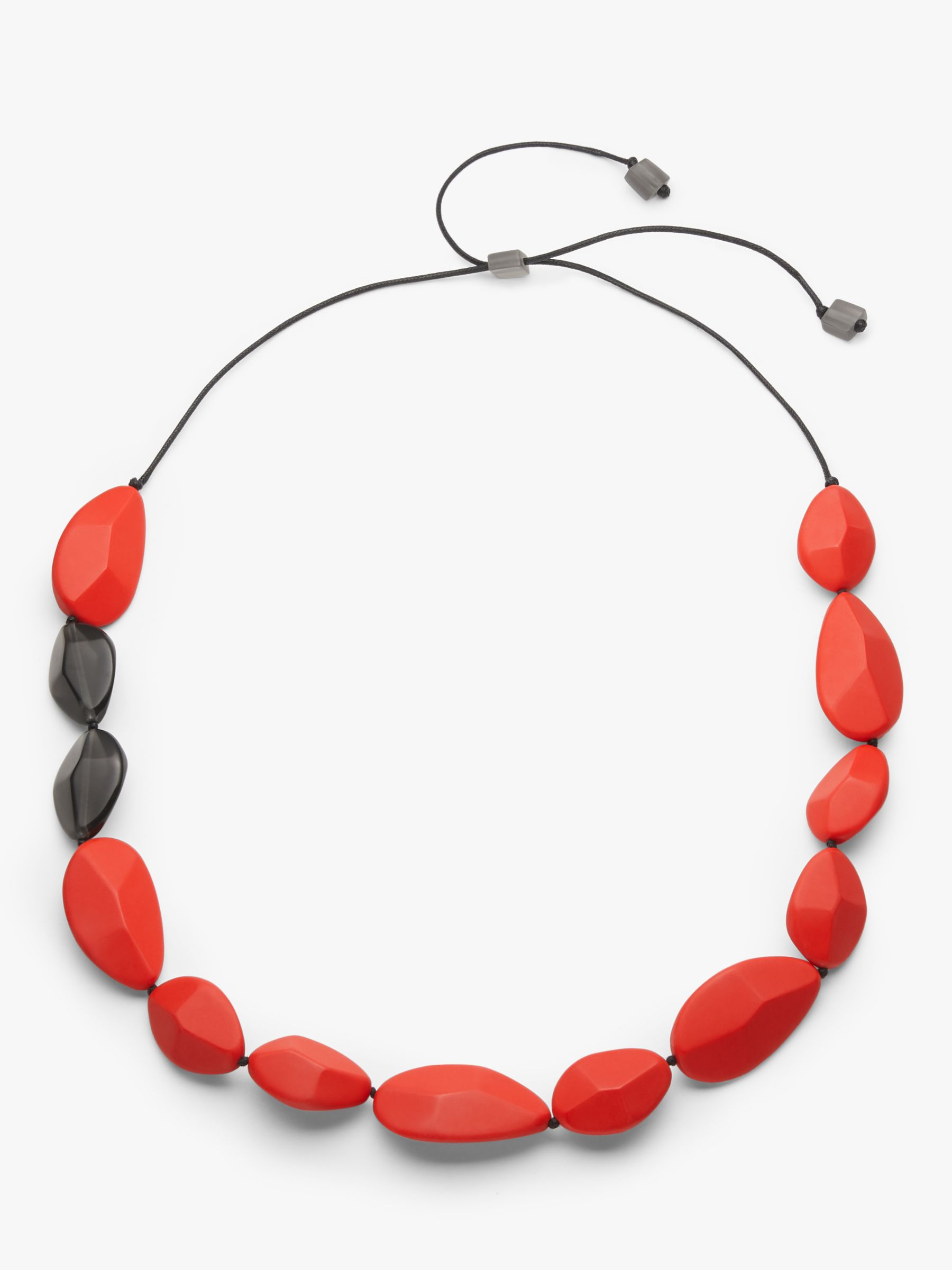 One Button One Button Resin Teardrop Long Necklace, Red