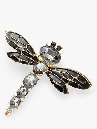 One Button Crystal Dragonfly Brooch, Black/Grey