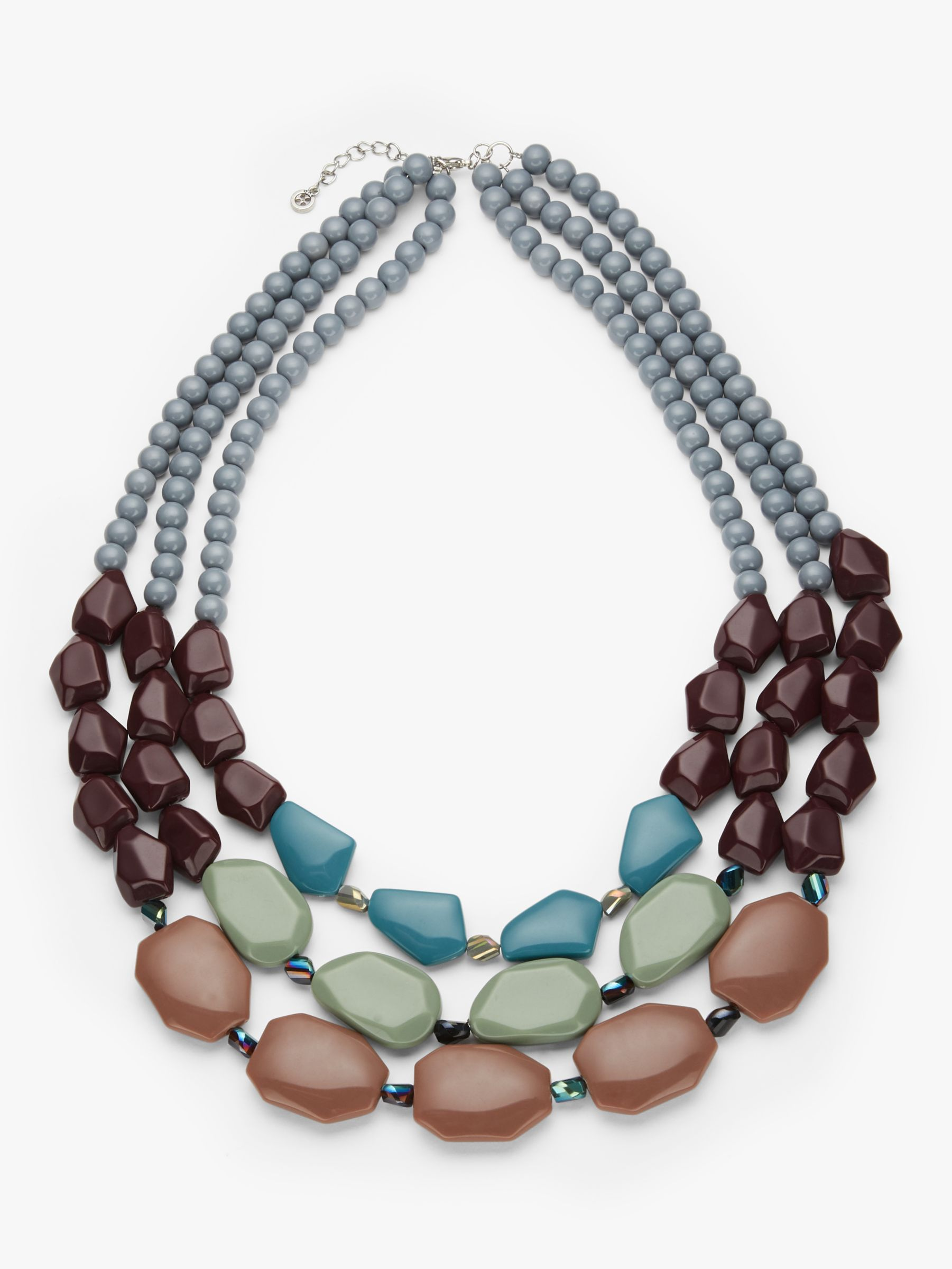 One Button One Button Triple Row Beaded Necklace, Multi