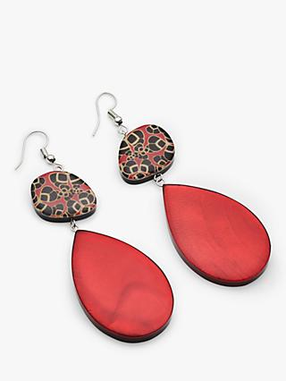 One Button Statement Oval Drop Earrings, Red/Multi