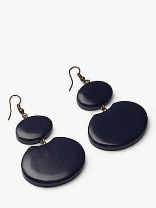 One Button Resin Disc Statement Drop Earrings, Navy