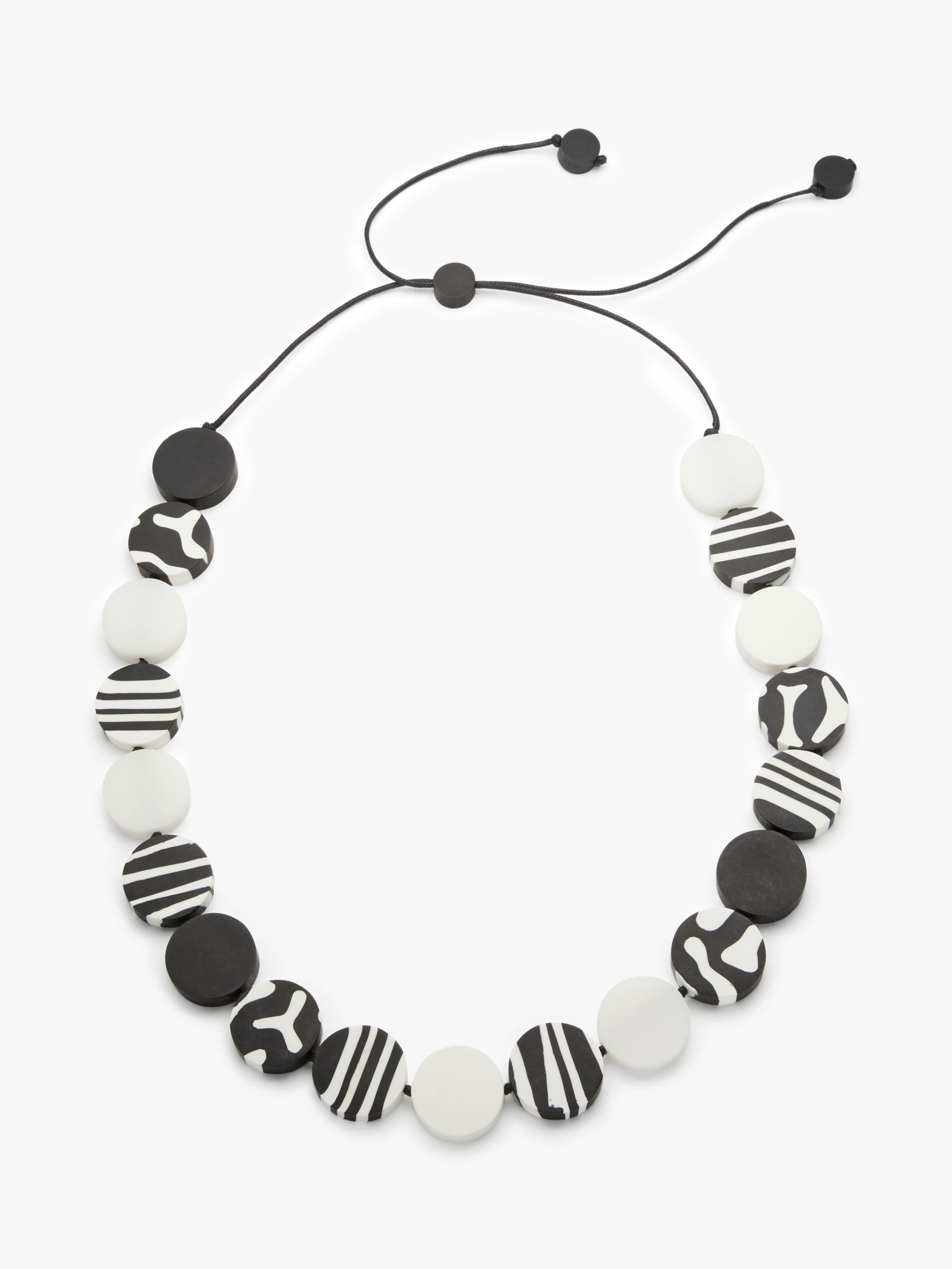 One Button One Button Zebra Motif Round Resin Beads Long Necklace, Black/White