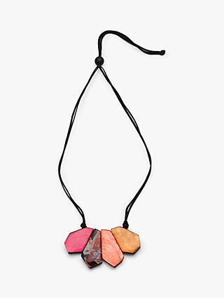 One Button 4 Flat Piece Statement Necklace, Multi
