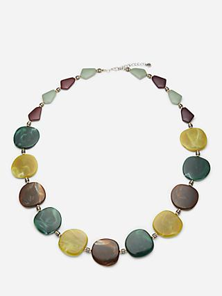 One Button Pebble Marbled Necklace, Green