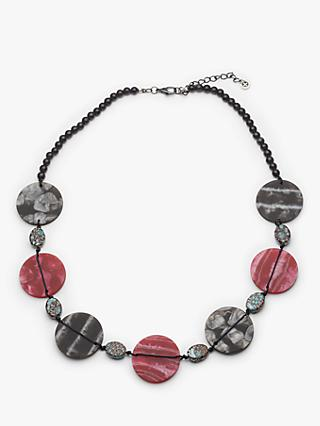 One Button Marble Disc Necklace, Grey/Wine