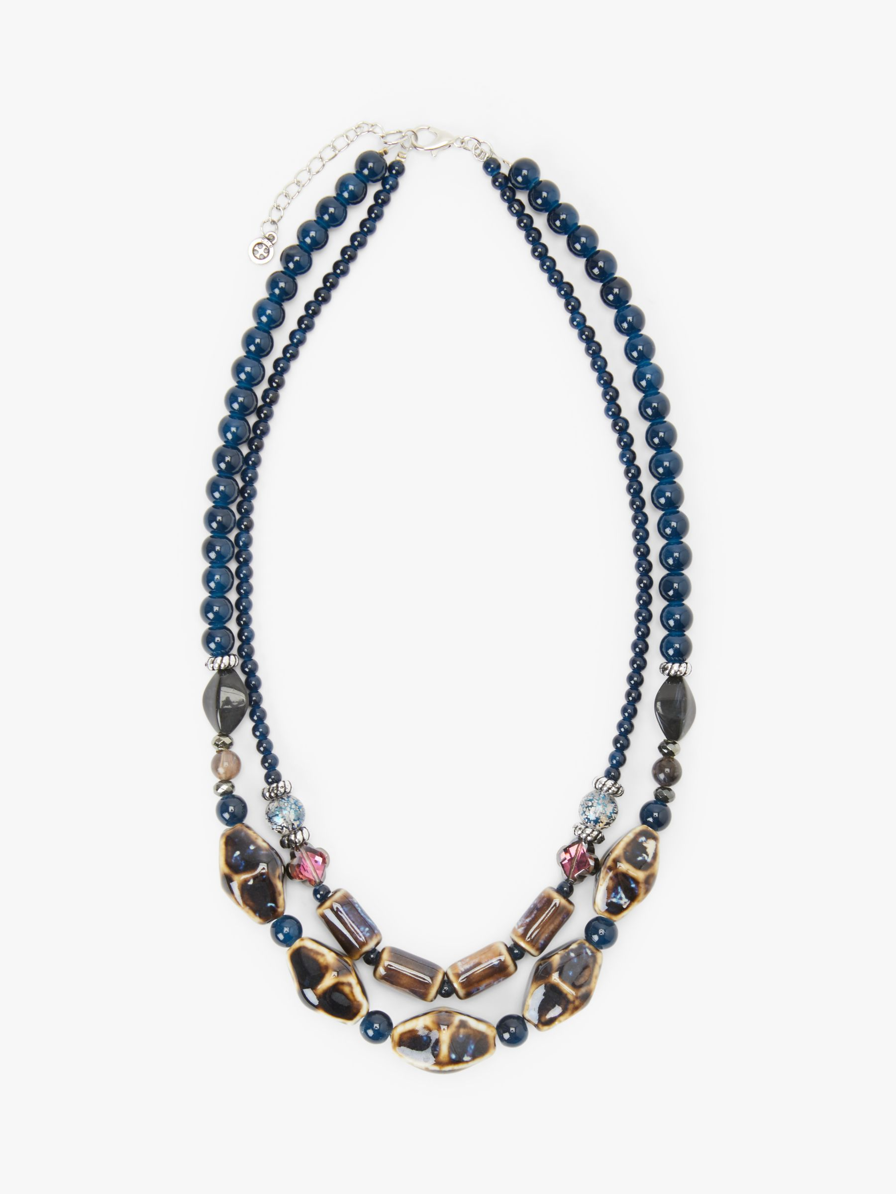One Button One Button Beaded Double Row Necklace, Navy