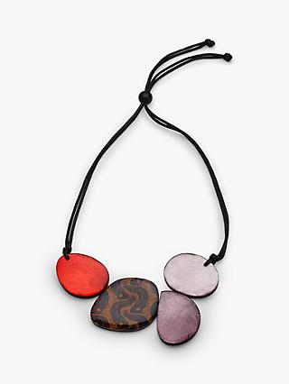 One Button Organic Flat Pebble Statement Necklace, Multi
