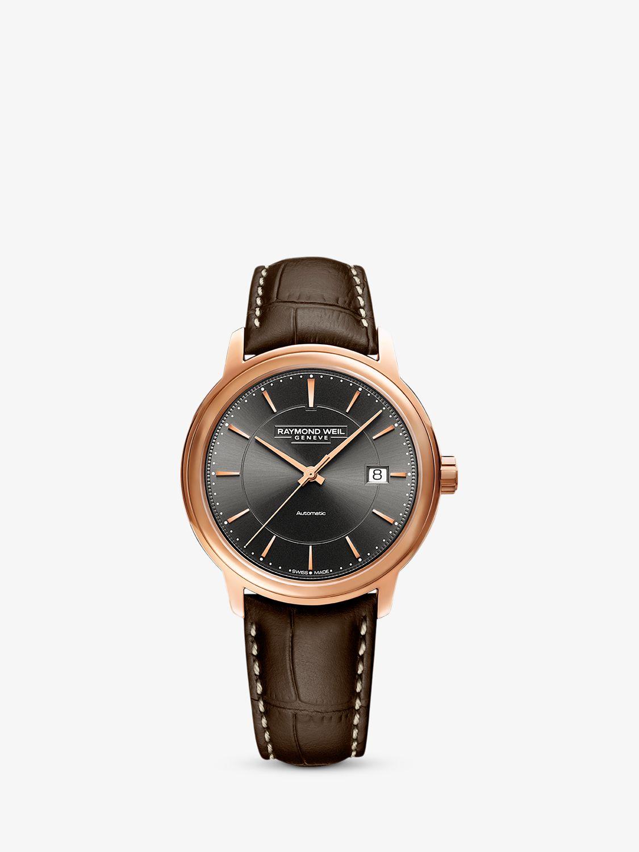 Raymond Weil Raymond Weil 2237-PC5-60011 Men's Automatic Date Leather Strap Watch, Brown/Grey