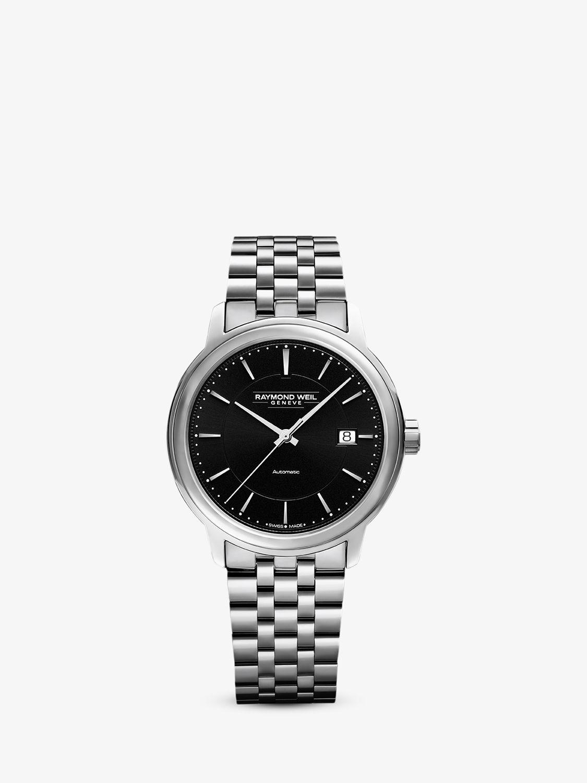 Raymond Weil Raymond Weil 2237-ST-20011 Men's Maestro Date Bracelet Strap Watch, Silver/Black