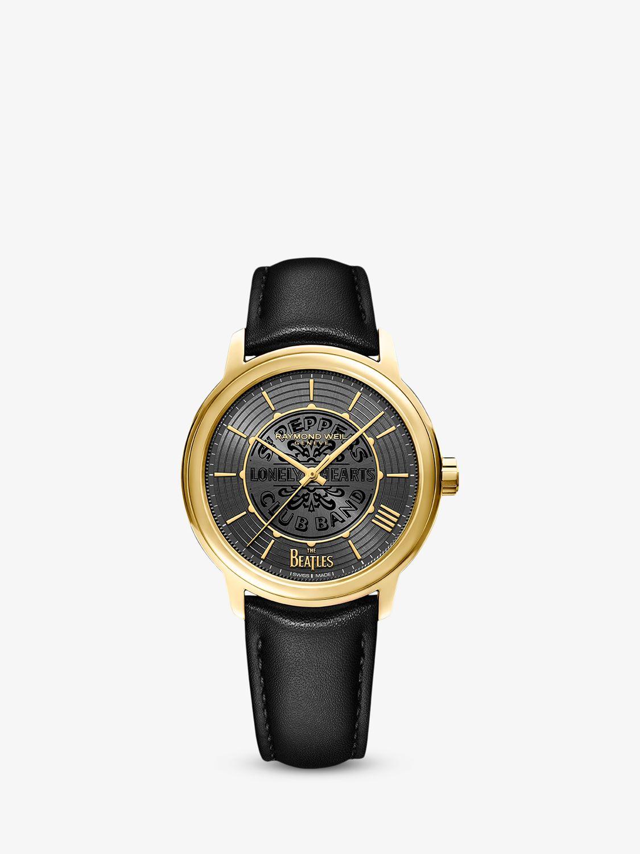 Raymond Weil Raymond Weil 2237-PC-BEAT3 Men's Maestro The Beatles Automatic Leather Strap Watch, Black