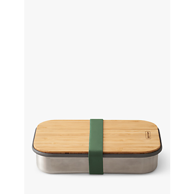 black+blum Stainless Steel & Bamboo Lid Sandwich Lunch Box, 900ml, Olive/Silver