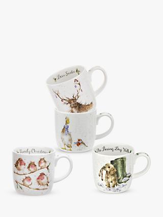 Wrendale Designs Christmas Wildlife Mugs, Set of 4, 310ml, White/Multi
