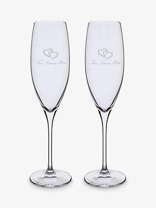 Dartington Crystal Personalised Love Heart Flutes, Set of 2, 200ml, Palace Script Font, Clear