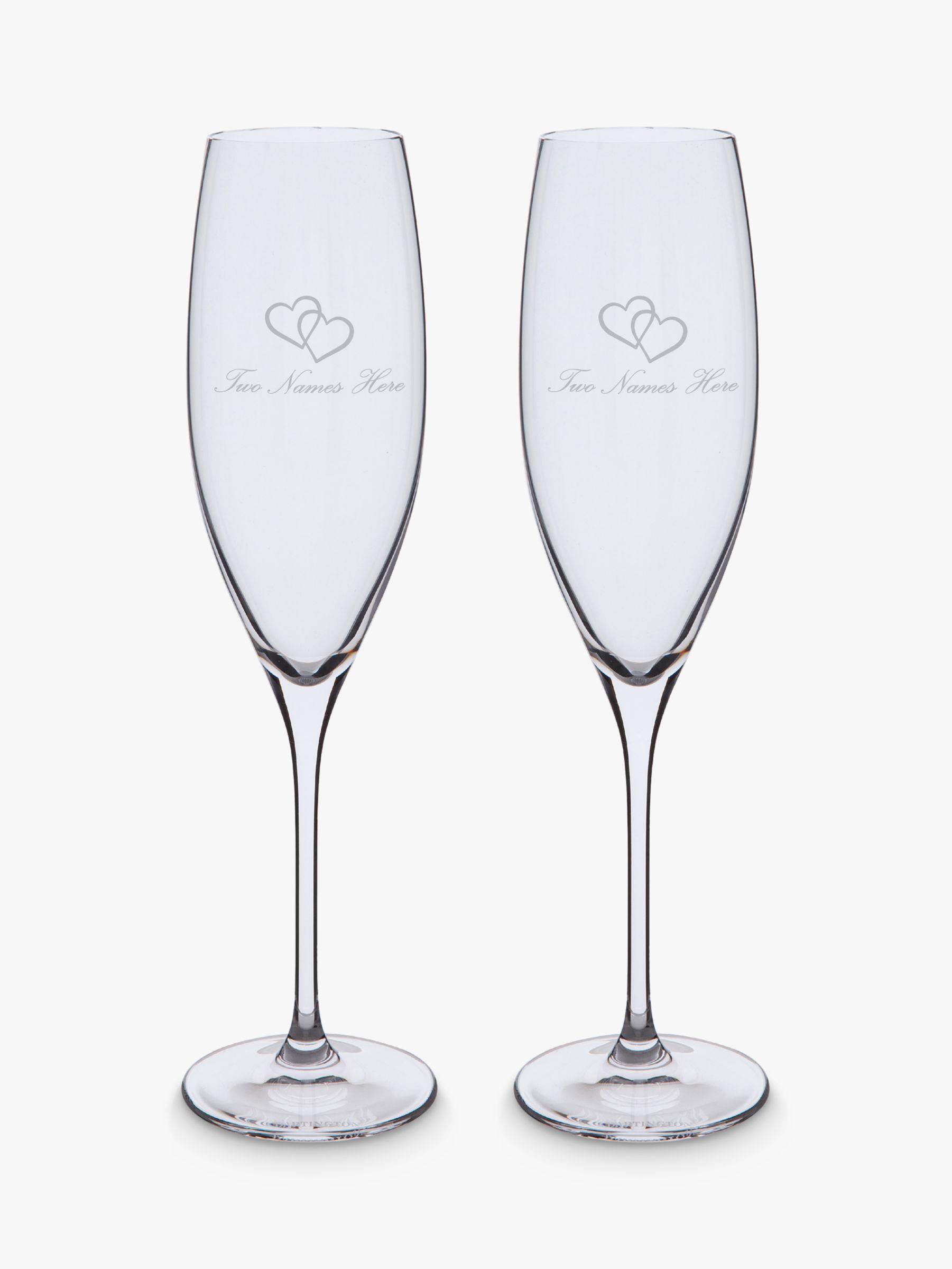 Dartington Crystal Dartington Crystal Personalised Love Heart Flutes, Set of 2, 200ml, Palace Script Font, Clear